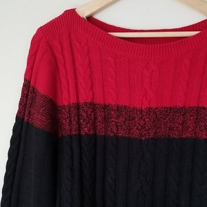 Chaps red cable knit sweater size XL